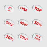 Collection of red sale icons. Set of red sale icons Royalty Free Stock Photography