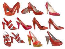 Collection red shoes Royalty Free Stock Image