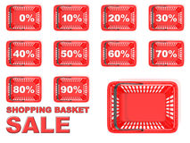 Collection of red shopping basket sale tags. Discount signs Royalty Free Stock Image