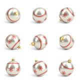 Collection of red and silver christmas balls. White isolated. 3D render Stock Photo