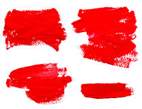 Collection of red strokes of the paint brush. Isolated on a white Royalty Free Stock Photography