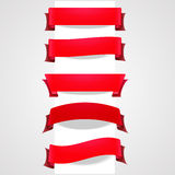 Collection of red tape banners Royalty Free Stock Photos