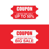 Collection red and white sale coupon Royalty Free Stock Image