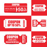 Collection red and white sale coupon Stock Photo
