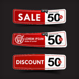024 Collection of red and white web tag banner promotion sale di Royalty Free Stock Images