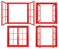 Collection of red window frames isolated on white Stock Photos
