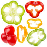 Collection of red, yellow, green pepper slices Stock Image