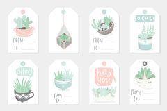 Collection of redy to use gift summer tags, cards and stickers with succulents. Vector printable branding collection for flower shop, gift store or house Royalty Free Stock Image