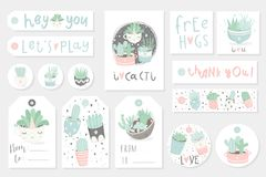 Collection of redy to use gift summer tags, cards and stickers with succulents. Vector printable branding collection for flower shop, gift store or house stock illustration