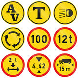 Collection of Regulatory Road Signs Used in Botswana.  Royalty Free Stock Images