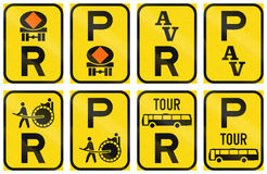 Collection of Regulatory Road Signs Used in Botswana.  Royalty Free Stock Photos
