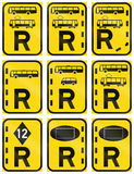 Collection of Regulatory Road Signs Used in Botswana Royalty Free Stock Photo