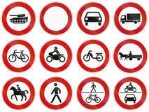 Collection of regulatory signs prohibiting entry for vehicles in Germany. Stock Image