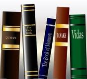 Religious Books. A collection of religious books on a bookshelf Stock Photo