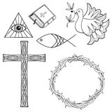 Collection of religious symbols. Collection of christian symbols. Dove, Cross, Bible, Crown of thorns Stock Images