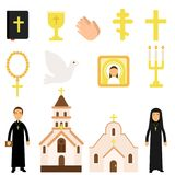Collection of religious symbols and objects in flat style. Bible, icon, crosses, candles, dove, church attendants. And temples. Religion traditions theme Stock Photography