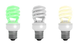 Collection of Rendered CFL Lightbulbs. 3D Rendered CFL Light Bulbs on a White Background Royalty Free Illustration