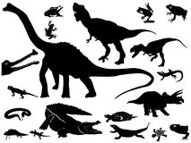 Collection of reptiles. Vector collection of silhouettes of reptiles Stock Image