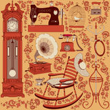 Collection of retro appliances and furniture Stock Image