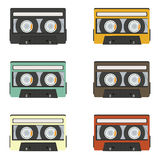 Collection of retro audio tapes isolated on white background Stock Photography