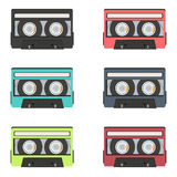Collection of retro audio tapes isolated on white background Stock Images