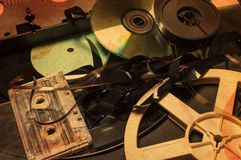 Collection of retro audio and video tapes. Royalty Free Stock Photos