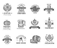 Collection of retro beer emblems, badges, stickers Stock Images