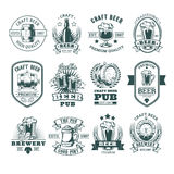 Collection of retro beer emblems, badges, stickers Stock Image