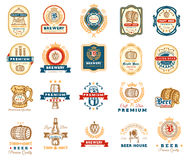 Collection of retro beer emblems, badges, stickers Royalty Free Stock Photo