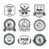 Collection of retro beer emblems, badges, stickers Royalty Free Stock Images