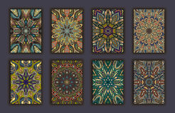 Collection retro cards. Ethnic backgrounds. Card of invitation. Stock Images