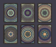 Collection retro cards. Ethnic backgrounds. Card of invitation. Royalty Free Stock Photos