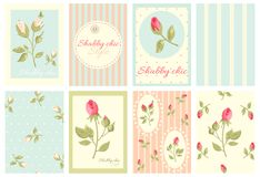 Collection of retro cards in shabby chic style Stock Images