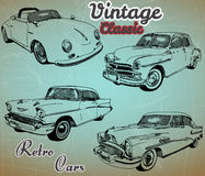Collection of retro cars. Of old background.Hand draw style Royalty Free Stock Image