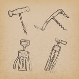 Collection of retro corkscrews Royalty Free Stock Photos