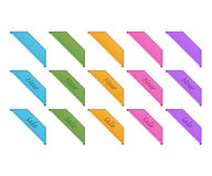 Collection of retro corner ribbons. 5 colors stock illustration