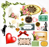 Collection of  retro design elements for valentine's desig Stock Image