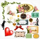Collection of  retro design elements for valentine's desig Stock Image