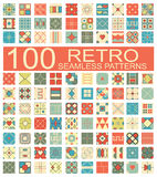 Collection of 100 retro different vector geometric seamless patt. Set of 100 retro different vector geometric seamless patterns (tiling) of blue, orange, red Royalty Free Illustration