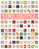 Collection of 100 retro different vector geometric seamless patt Stock Photography