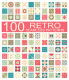 Collection of 100 retro different vector geometric seamless patt Royalty Free Stock Image