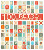Collection of 100 retro different vector geometric seamless pattern Stock Images