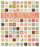 Collection of 100 retro different vector geometric seamless  Royalty Free Stock Images