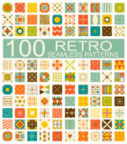 Collection of 100 retro different vector geometric seamless. Set of 100 retro different vector geometric seamless patterns (tiling) of blue, orange, red, ivory Royalty Free Illustration