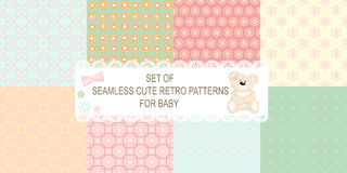 Collection of 8 retro different vector seamless patterns Royalty Free Stock Images