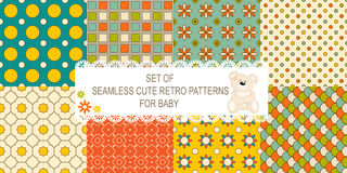 Collection of 8 retro different vector seamless patterns stock illustration