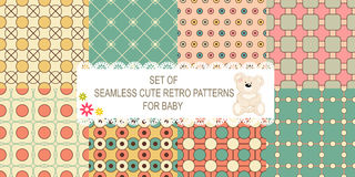 Collection of 8 retro different vector seamless patterns Stock Images