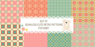 Collection of 8 retro different vector seamless patterns Royalty Free Stock Image