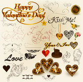 Collection of retro elements for  valentine's day design. Valentine  Collection of retro elements for  valentine's day design Stock Photos