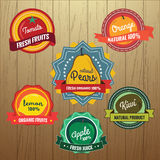 Collection of Retro Fruits Label Design Royalty Free Stock Photo